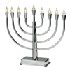 LED Silvertone Metal Menorah in Traditional Shape