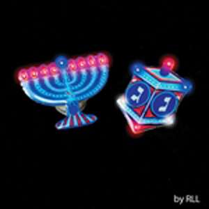 Flashing Chanukah L.E.D. Pin - Menorah