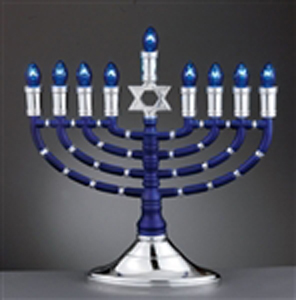Blue and Silver Electric Menorah
