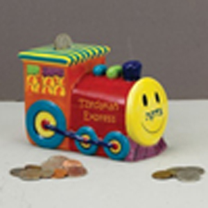 Train Ceramic Tzedakah Box