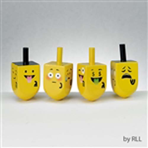 Bright yellow painted wooden dreidels with emoji faces!