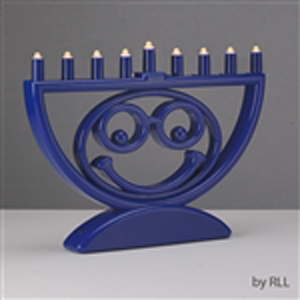 Blue LED menorah with smiling emoji face
