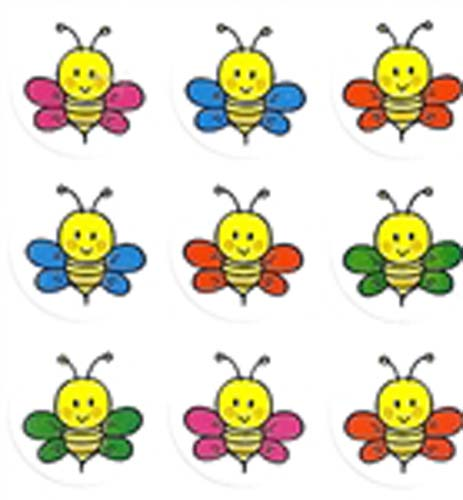 Colorful Busy Bee Stickers with Smiles