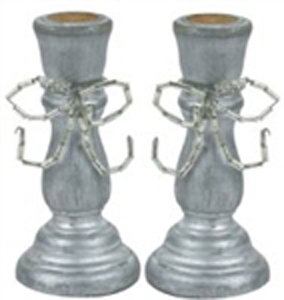 "3"" Wooden Candle Stick, pair"