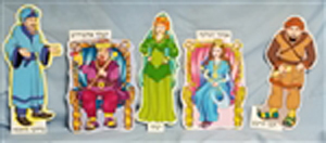 "Colorful Purim Hand Puppets Printed on Polypropylene  12"" tall"