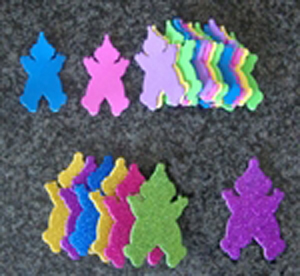 Foam Clown Cut-Outs in Bright Purim Colors