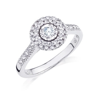 Round Halo style diamond engagement ring