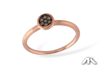 Sparkling cocoa diamonds in 14K rose gold ring.