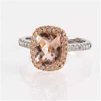 Morganite and diamond ring in 18K gold