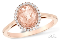 Morganite and diamond ring in 14K rose gold.