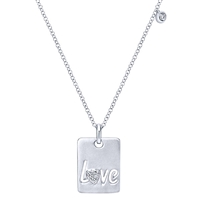"""Love"" necklace in sterling silver with diamond."