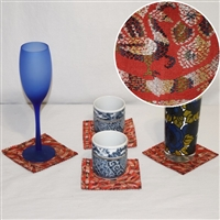 """Peacock Paisley"" Coaster Set"