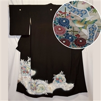 """Bird and Bouquet"" Tomesode Kimono"