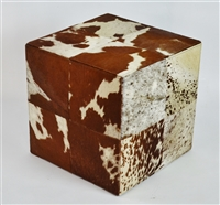 Rustic Brown and Cream Cowhide Ottoman Cube