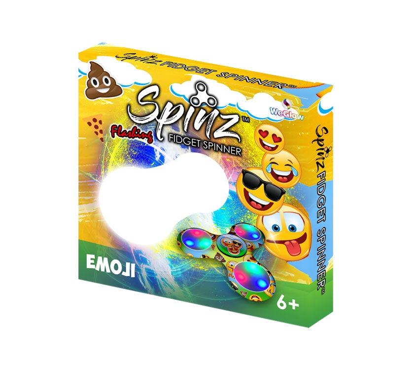 Spinz Emoji Flashing Fid Spinner 12 pc display