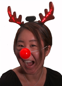 Light Up Red Nose Reindeer Set