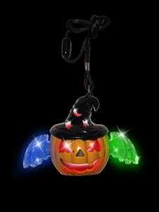 Light Up Pumpkin Necklace with Hat and Wings