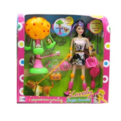 Lovely Doggie Paradise Doll Set - Brunette