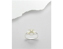 Mother of Pearl Flower Bevel Sterling Silver Ring (6)