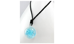 Light Blue Starburst Glass Drop Necklace