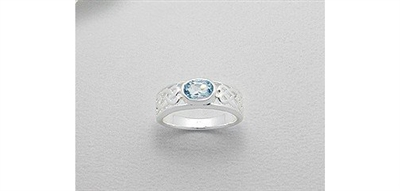 Celtic Powder Blue Cubic Zirconia Sterling Silver Ring (7)