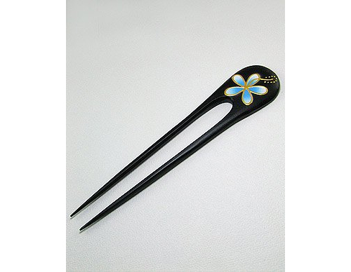 Light Sky Blue Plumeria Design Real Wood Hair Pin