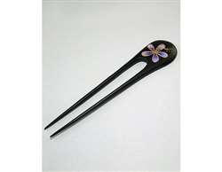 Purple Plumeria Design Real Wood Hair Pin