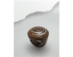 Stainless Steel Swirl Real Wood Ring (7.5)