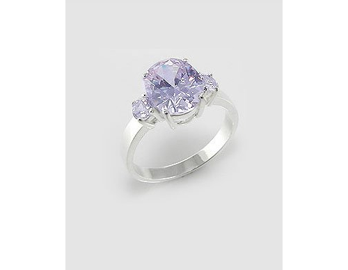 Lavender Cubic Zirconia Sterling Silver Ring (7)