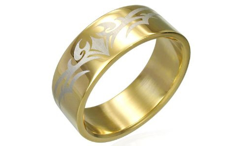 Gold Plated Tribal Design Stainless Steel Ring