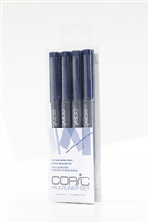 Copic Multiliner Inking Pens 4 Piece COBALT Set