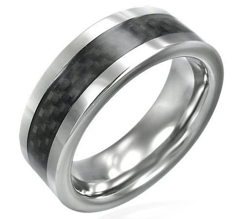 Black Carbon Fiber Inlay Tungsten Carbide Ring - 8