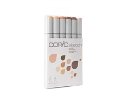 Copic Sketch Set of 6 Markers - Skin Tones 1 Skin Tones 1 Colors Included: E00, E11, E13, E15, E18, R20 Copic's 6pc Sketch sets are the perfect way to begin building a marker collection. Carefully chosen colors take the guess work out of picking colors.
