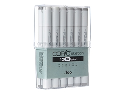 Copic Sketch Set of 12 Toner Gray Markers. Copic Sketch Set of 12 Toner Gray Markers, COPIC TONER GRAY,copic sketch toner gray,STG12,copic,discount art supplies,colorless blender,0-Colorless Blender, T0, T1, T2, T3, T4, T5, T6, T7, T8, T9, T10