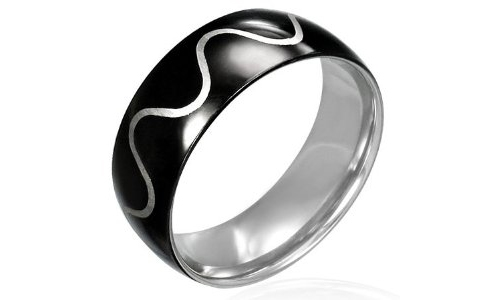 Glossy Black Tribal Wave Design Stainless Steel Ring-11