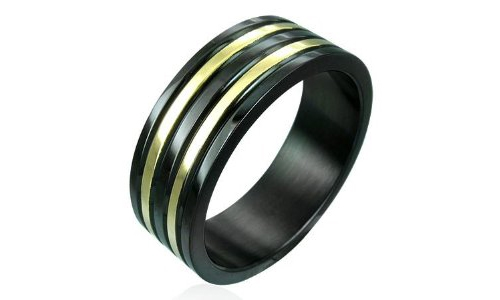 Black and Gold Tones Ribbed Stainless Steel Ring - 10