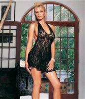 Lace Halter Dress With G-String * 8718