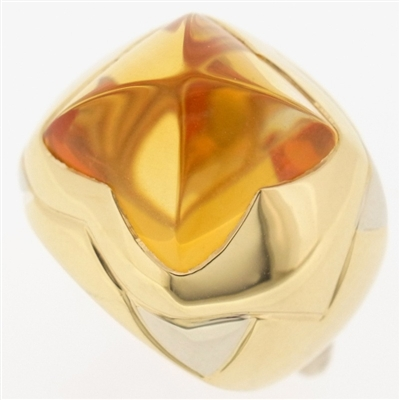 Bvlgari Pyramide Citrine Ring Yellow White Gold