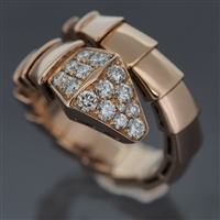 Bvlgari Serpenti Pave Diamonds Ring Rose Gold