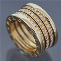 Bvlgari B Zero 4 Bands Diamonds Ring Yellow Gold