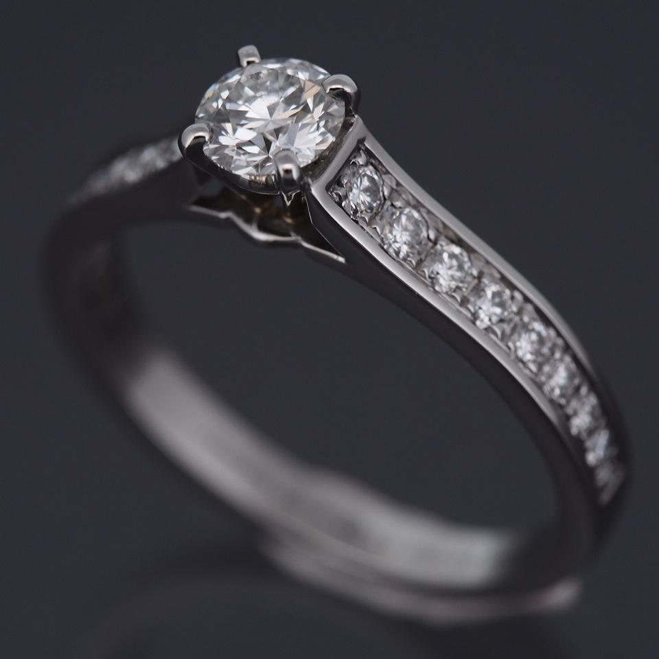 cartier platinum 950 solitaire 1895 032 ct diamond ring