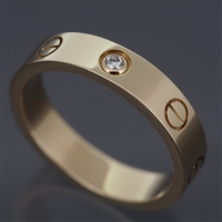 Cartier Mini Love 1 Diamond Ring Yellow Gold