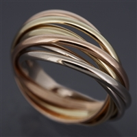 Cartier 7 Bands Trinity Ring 3 Gold