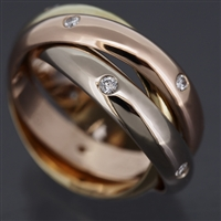 Cartier Trinity Ring With 15 Diamonds 3 Gold