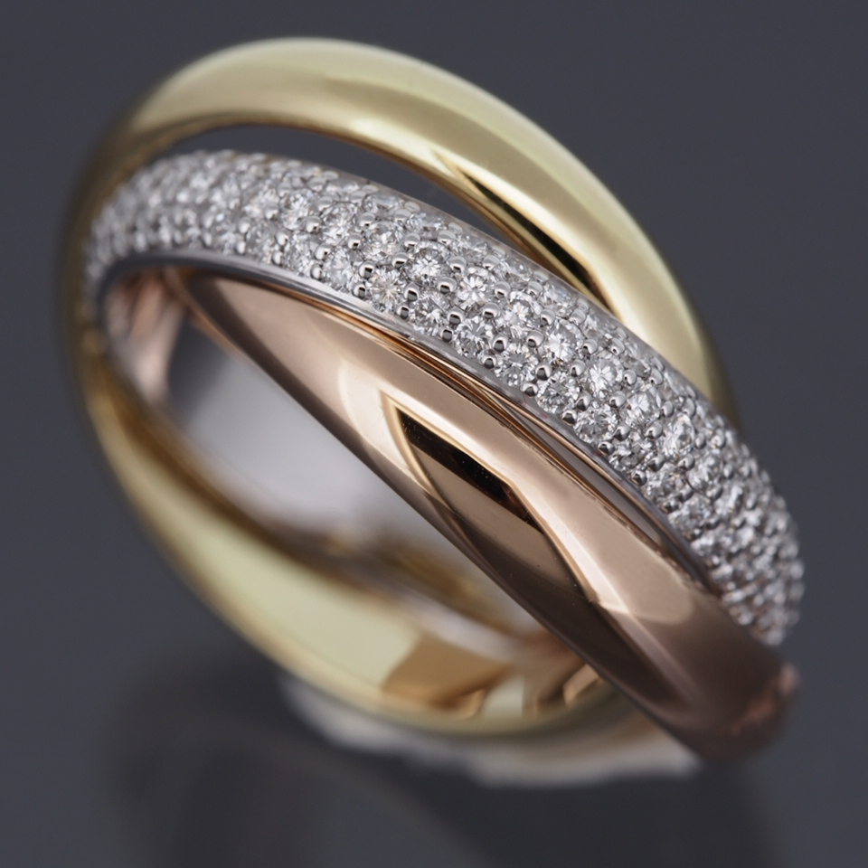 cartier 18k tri color gold 3 bands rolling ring