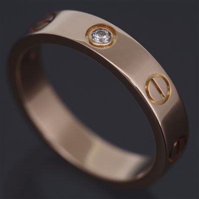 Cartier Mini Love 1 Diamond Ring Rose Gold