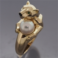 Cartier Panther Vedra Pearl Ring Yellow Gold