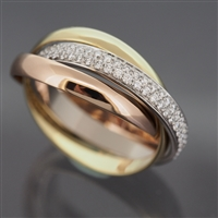 Cartier Trinity Ring With Pave Diamonds 3 Gold SM