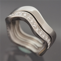 Cartier Neptune Diamonds Ring 2 Rows White Gold