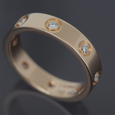 Cartier Mini Love 8 Diamonds Ring Rose Gold